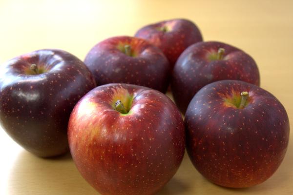 赤黒いリンゴ「秋映」